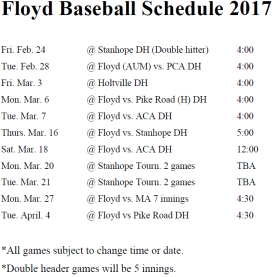 floyd-baseball-2016-2017-schedule
